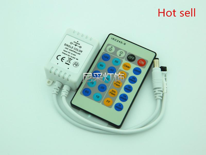 10PCS LED IR Single color strip light controller 24 keyboard dimmer 12V use for 3528 or 5050 strip light(China (Mainland))