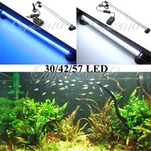 Aquarium Fish Tank Accessories 30 LED Light Lighting Blue White 28CM Bar Submersible Waterproof Decoration Clip Lamp 100-240V(China (Mainland))