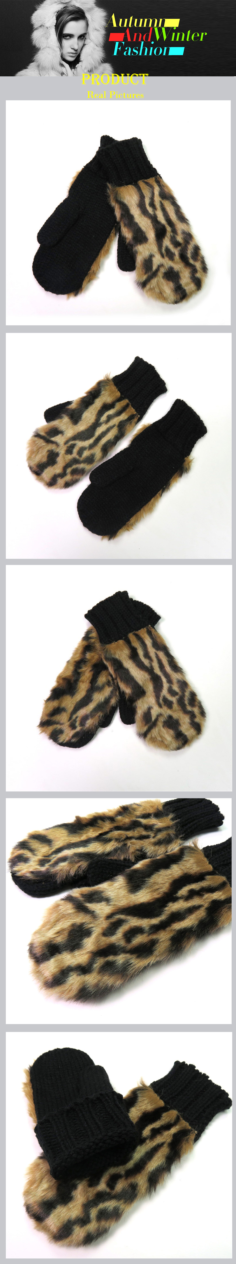 Ladies Luxury Faux Fur Fleece Lined Mittens Gloves Fluffy Soft Cosy Brown 0014