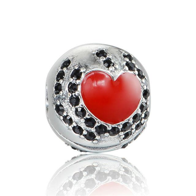 925 - серебристо-ювелирные бусины K003 красное в форме сердца клип бусины с камнями Fit Chamilia пандора браслет серебро 925 ювелирных изделий DIY