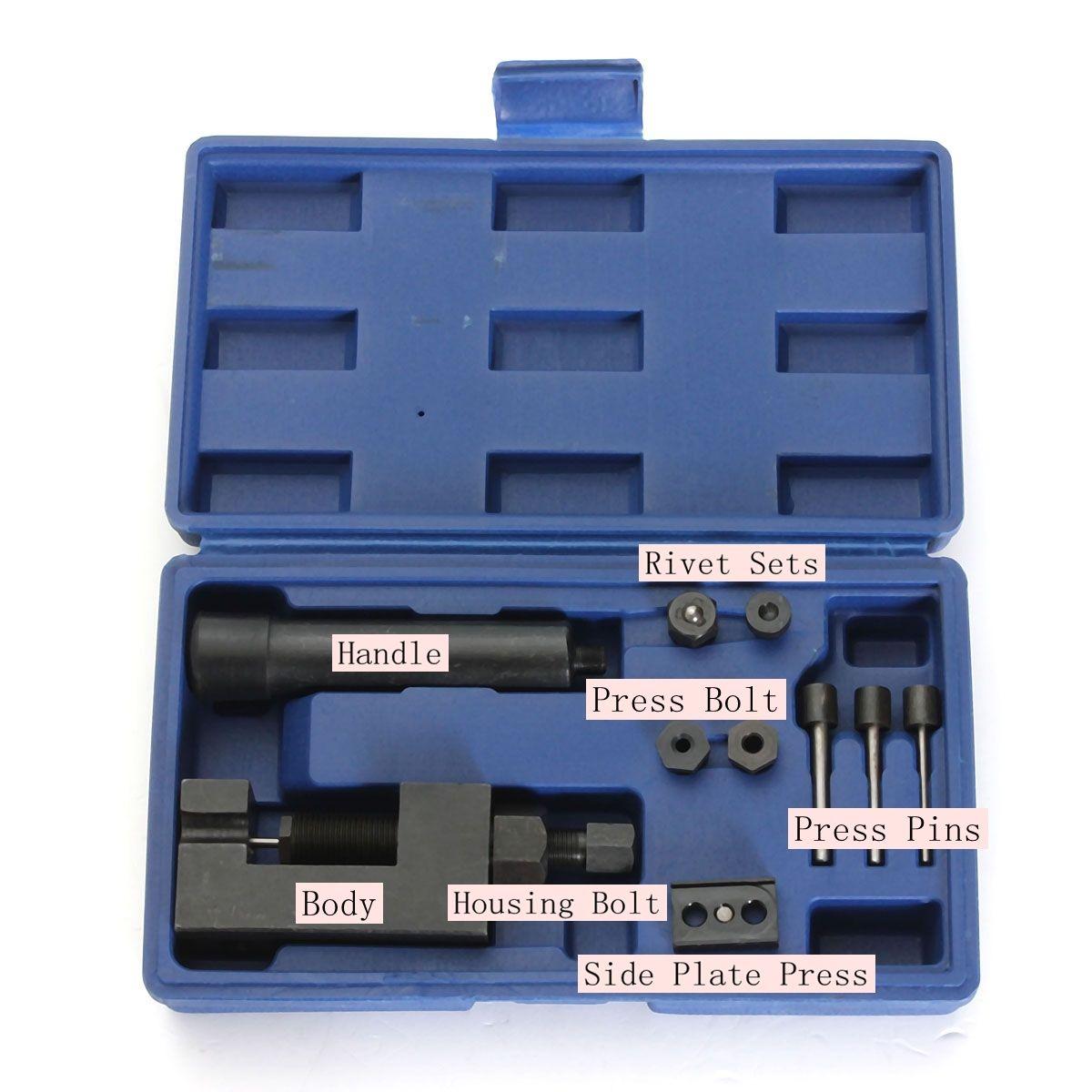 Motorcycle Heavy Duty Chain Breaker Cutter Riveter Tool Kit 520/525/530 Splitter<br><br>Aliexpress