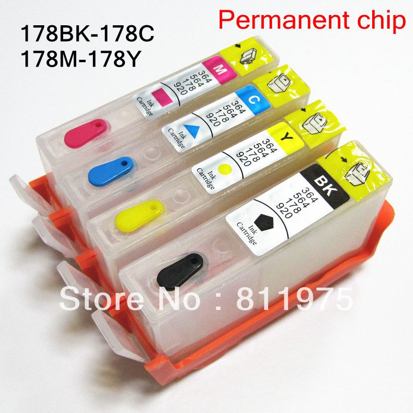 Free shipping For HP178XL BK C M Y For HP Photosmart Premium C309g C309c Fax C309a refillable ink cartridge with chips 4pcs<br><br>Aliexpress