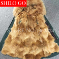 2016 New Women Winter Army Green Black Thick Parkas Plus Size Real Raccoon Canada Gold Wolf