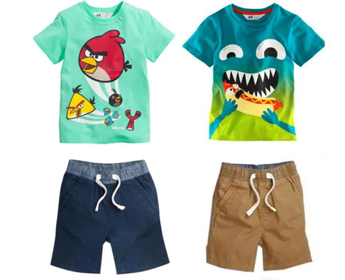Summer baby boy clothing sets 2015 new cartoon Birds and Crocodile kids clothes cotton T-shirt pants 2pcs children suit(China (Mainland))