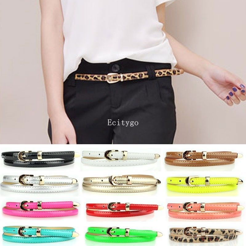Fashion Woman Girls Candy Color Pu Leather Thin Skinny Waist Belt Waistband 12 Y1 - Hot star Company store