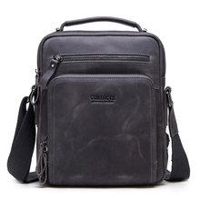 CONTACT'S sacos de ombro dos homens de couro de cavalo louco saco do mensageiro do vintage dos homens sacos crossbody bolsos masculinos do homem bolsa sling saco(China)