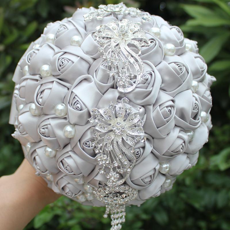 Silve Silk Bouquet Candy Color Silk Artificial flowers Holding Bouquet Wedding Bouquet Diamond Tassel Flower Wedding Decoration(China (Mainland))