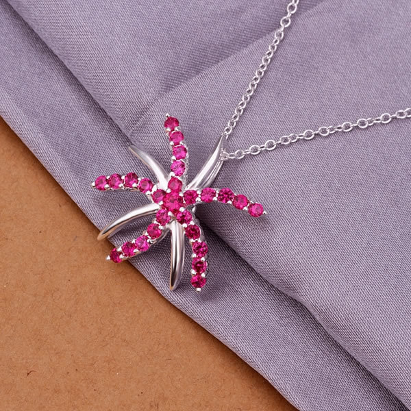 -N334 Shipping Silver fashion jewelry necklace pendant chain, wholesale 925 sterling silver necklace inlaid stone starfish neckl(China (Mainland))