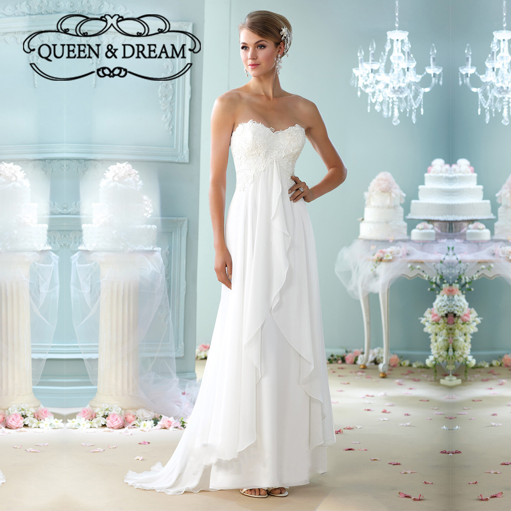 Elegant lace appliques chiffon backless simple a line for Backless beach wedding dresses