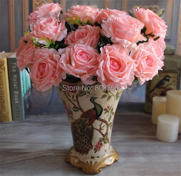 """Silk Roses Bush(9 heads/bunch) 45cm/17.72"""" Length Artificial Curling Rose Large Flower Head 6 Colors for Home Wedding Decor(China (Mainland))"""