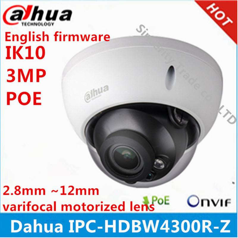 Dahua IPC-HDBW4300R-Z 2.8mm ~12mm varifocal motorized lens network camera 3MP IR ip camera POE cctv camera english firmware(China (Mainland))