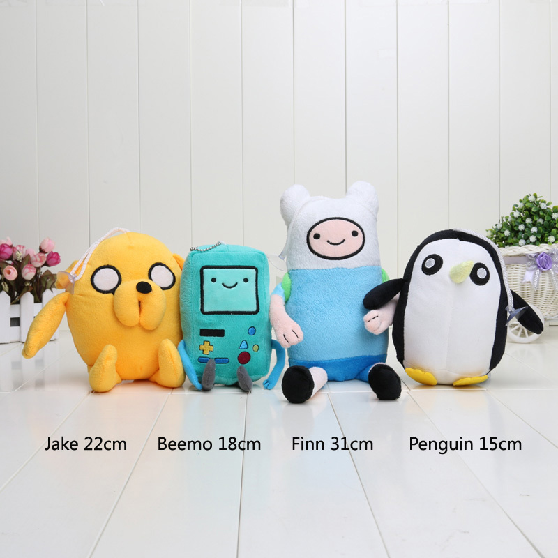 4 styles Adventure time Plush Toys Jake Finn Beemo BMO Penguin Gunter Stuffed Animals Plush Dolls Soft Toys(China (Mainland))