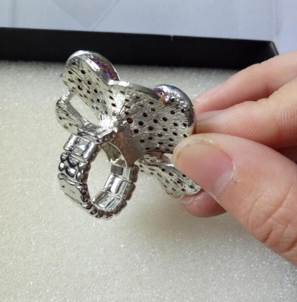 Fashion exaggerated oversized Heart-shaped crystal flower elastic finger ring nightclub prom personality ring women jewelry