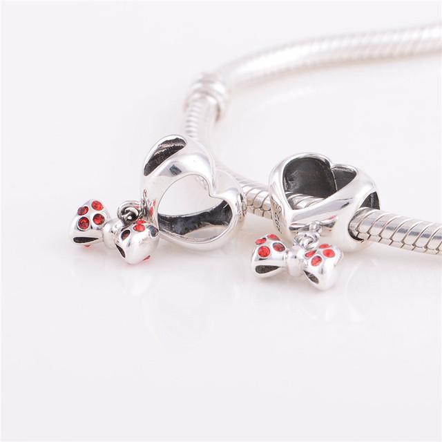 Бусины аутентичные стерлингового серебра 925 европейский шарм в форме сердца и бант женщины DIY ювелирных изделий подходит Chamilia стиль браслет