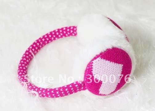 faux fur earmuff knit heart design ear warmer winter ear muffs(China (Mainland))