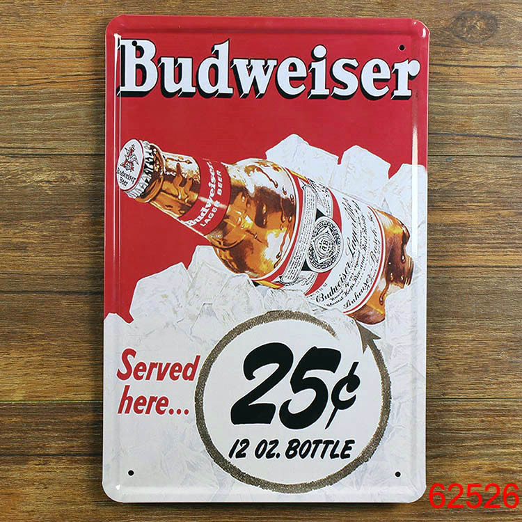 Budweiser beer save here Vintage Tin Sign Bar pub home kitchen Wall Decor Retro Metal Art Poster(China (Mainland))