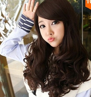 Long Curly Hair Oblique Bang Full Wig+Free Wig Cap