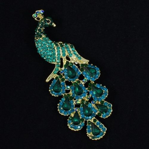 """Women Jewelry Vintage Brooches Chic Animal Green Peafowl Peacock Brooch Pin 3.6"""" Rhinestone Crystals 4781 Free Shipping(China (Mainland))"""