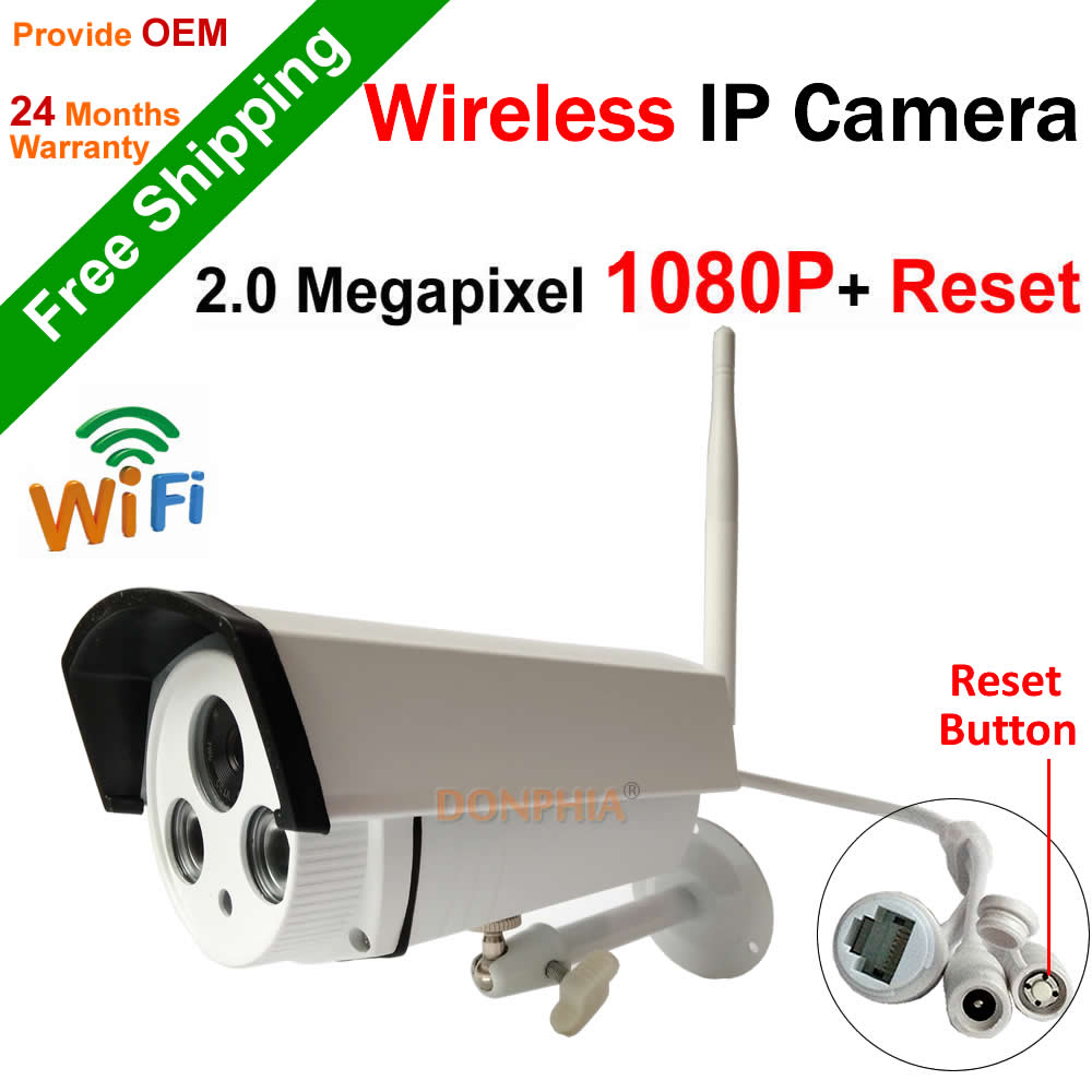 Free shipping! Full HD 1080P outdoor Wifi IP Camera support Onvif P2P Reset button Wireless 2.0MP IR night vision Security Cam(China (Mainland))