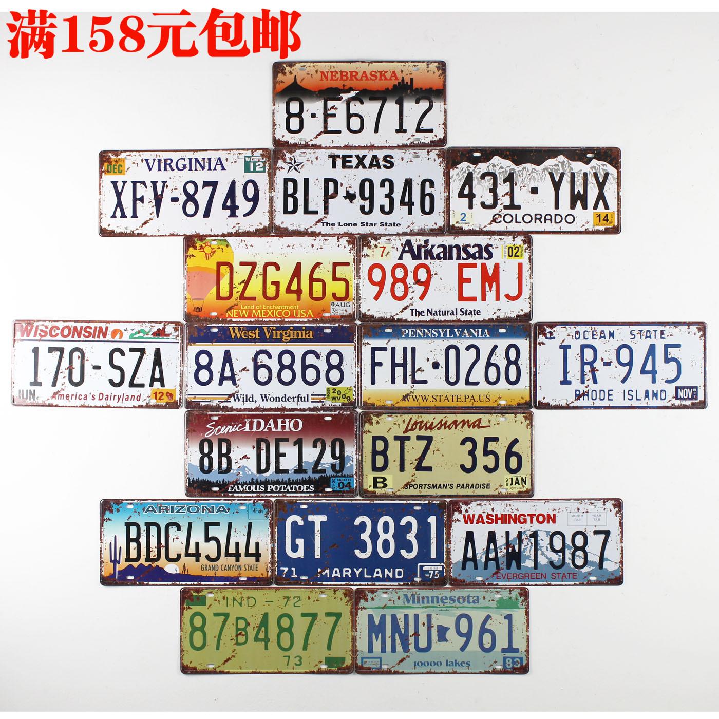 Zakka fashion vintage digital license plate metal decorative painting home wall stickers metal crafts 15*30cm 8pcs/lot(China (Mainland))