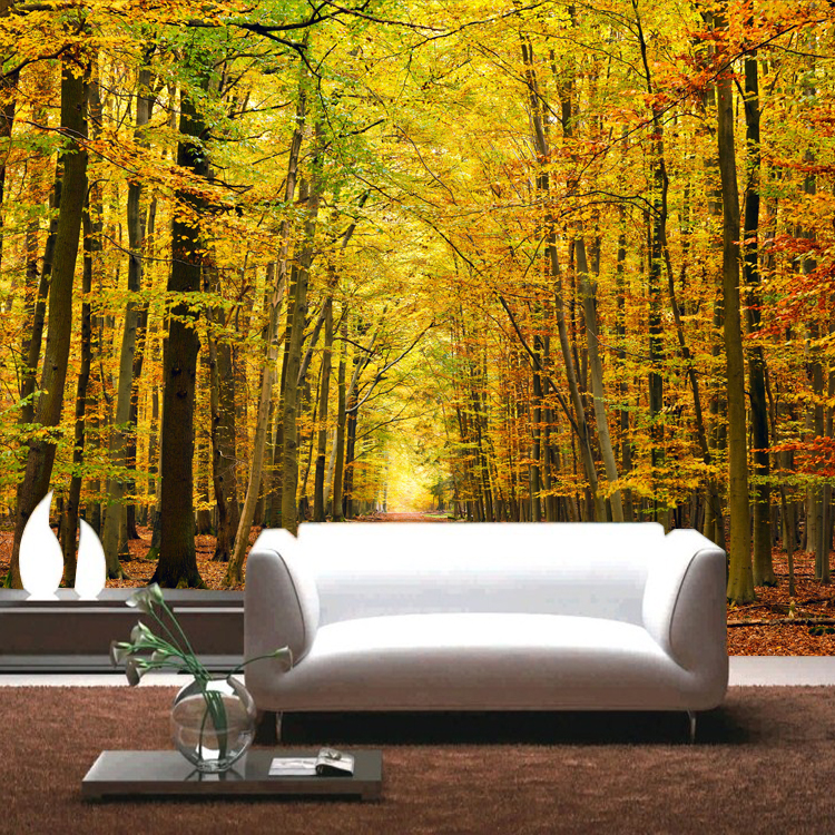 Large lanscape 3d three dimensional autumn season mural for 3 dimensional wallpapers 3d