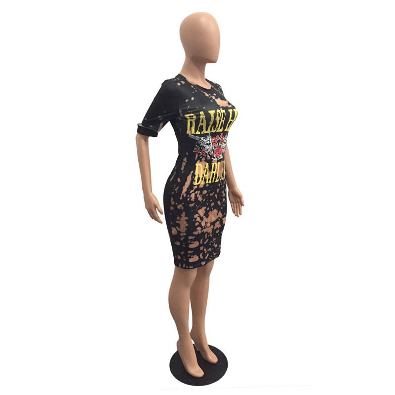 Summer Dresses American Rock Music Festival Rose and Guns Print Dress Fashion Casual Round Neck Short Sleeve Women Dresses