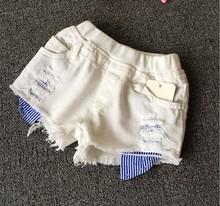 Hu sunshine wholesale New 2016 summer girls hot sale  solid white denim shorts(China (Mainland))