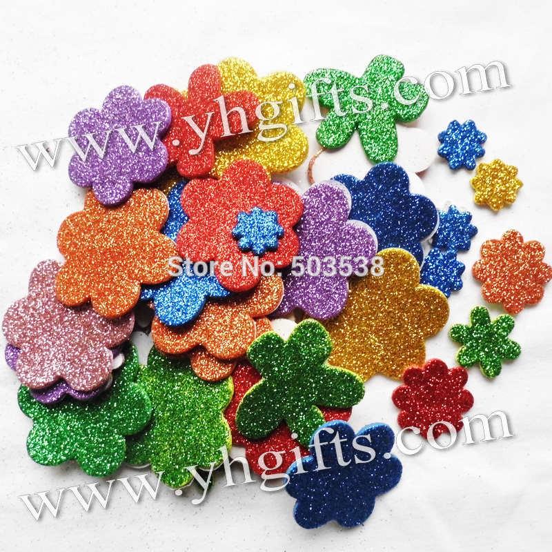 45PCS(1bag)/LOT,Glitter foam flower stickers,Spring crafts,Wall sticker,Kids room ornament.Decorative sticker.Kindergarten decor(China (Mainland))