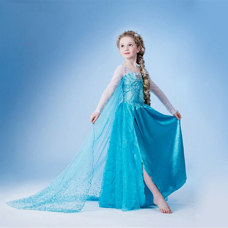 Girl Dress Cotton Elsa Summer Long Round Blue Elsa Dress Cartoon Party Dress 2015 Brand Girls Clothes Vestidos Infantis(China (Mainland))