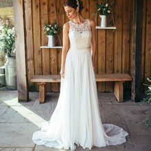 Buy 2017 New Arrival Wedding Dresses Sleeveless A-line Floor-Length O-neck Chiffon Applique Women Bridal Gowns Custom Made for $86.24 in AliExpress store