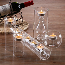 Stunning set/5 Glass Candle Holders Cylinder ball tube for candle , wedding party table centerpieces(China (Mainland))