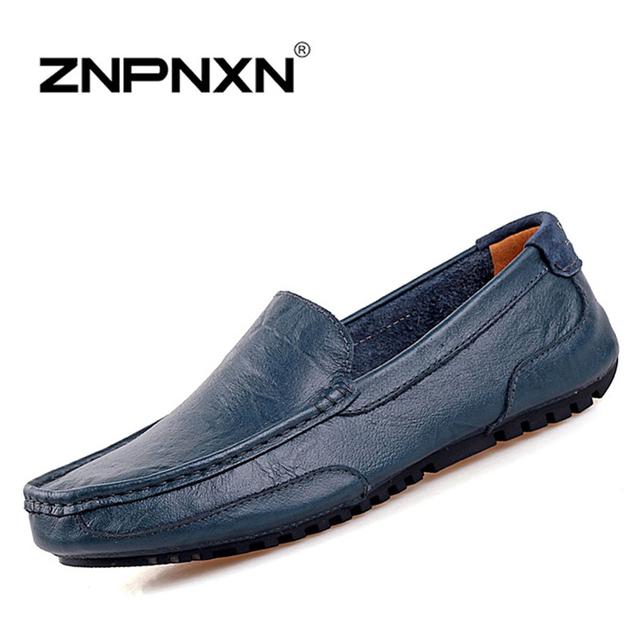 Znpnxn свободного покроя мужской обуви 2016 мода из натуральной кожи бездельников ...