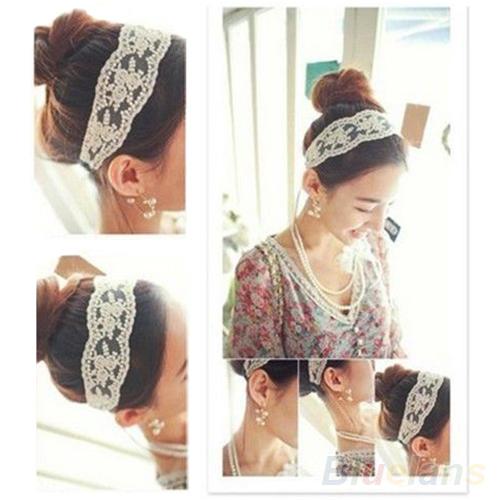 Women Fashion Fabric Lace Wide Stretch Headband Romantic Retro Cotton Headwrap 019D(China (Mainland))