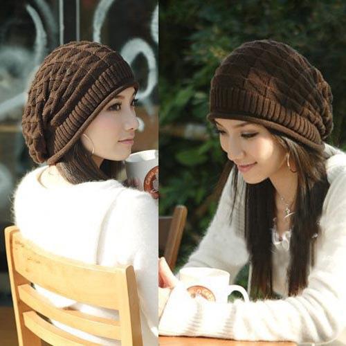 Korean Knitted Wool Hat Triangle Knitting Pattern Hat Women Ladies Winter Hat FT065(China (Mainland))