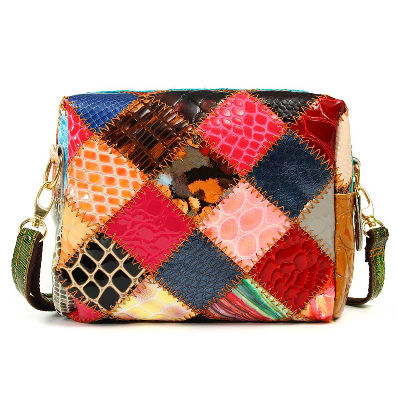 Genuine Leather Women Vintage Flap Single Shoulder Messenger Bag Crossbody Fashion Lady Girl Zipper Bag Patchwork Fashion Design(China (Mainland))