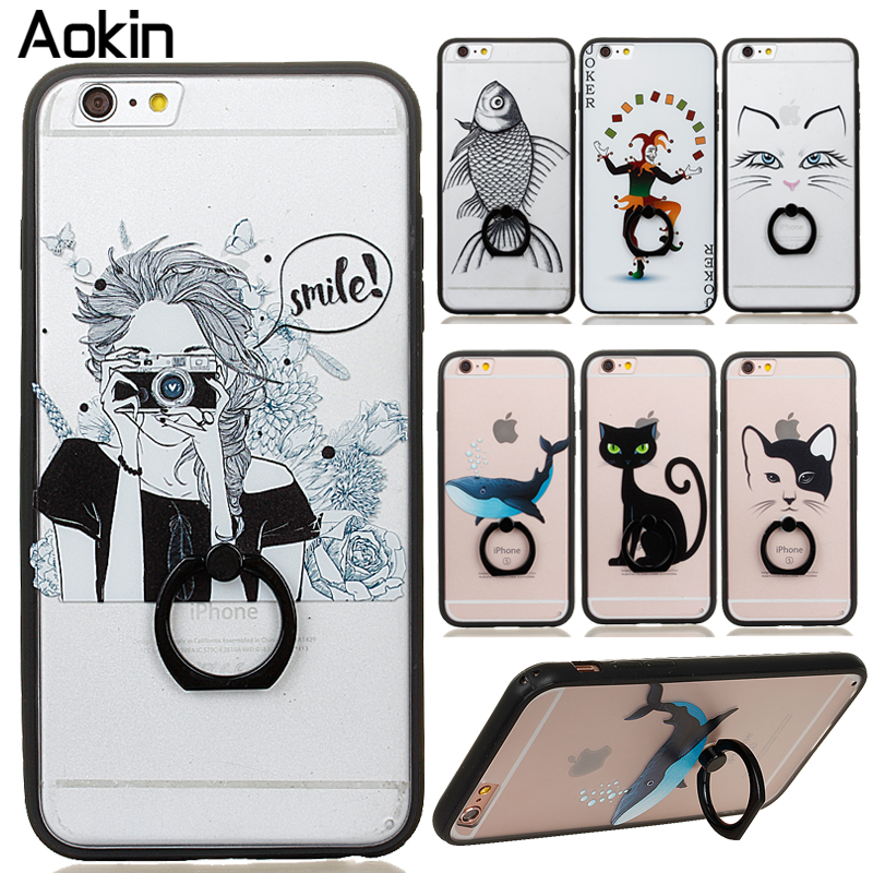 AOKIN cartoon girl animals cat Case For Iphone 6 6s plus Slim Crystal Back Protect Ring flip Cover Fundas Silicone Gel Case(China (Mainland))
