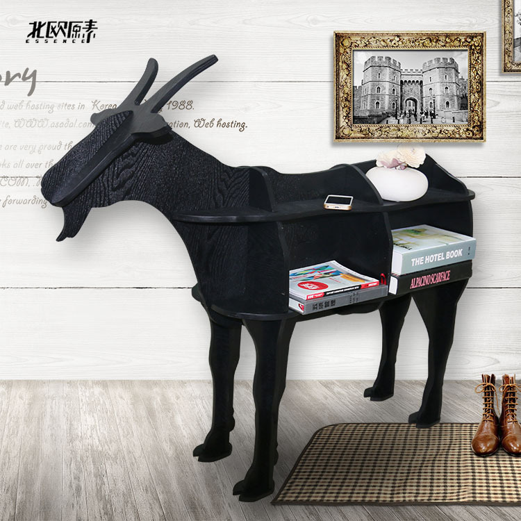 Scandinavian-style wood goat sheep animal shaped wooden bookcase shelves console table ornaments creative Nordic home decor(China (Mainland))
