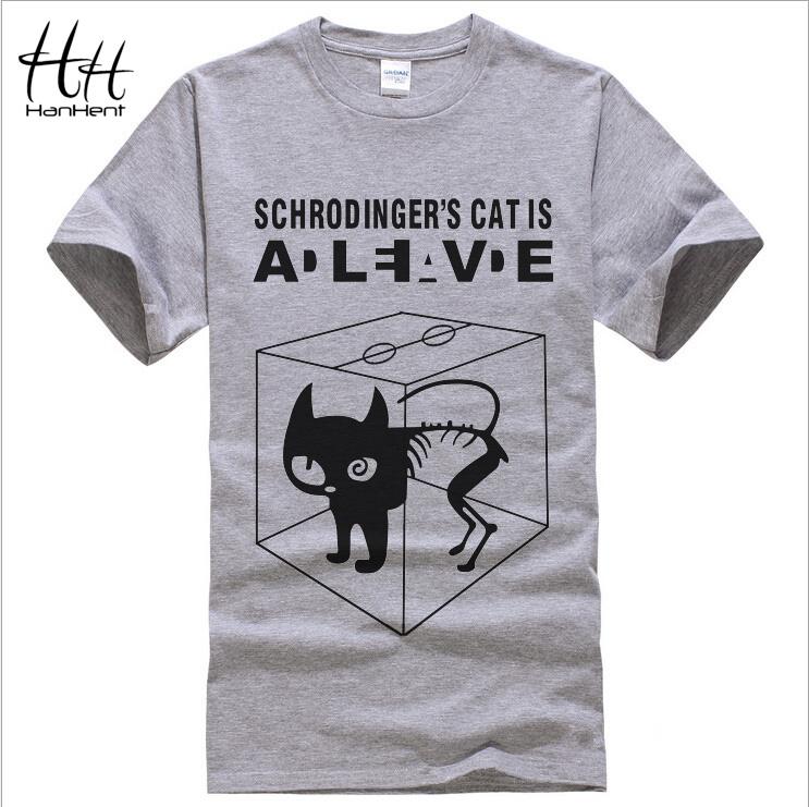 Мужчины в футболки шредингера Cat теория большого взрыва хлопок короткий рукав с круглым вырезом топы тис лето добычу футболки TA0164