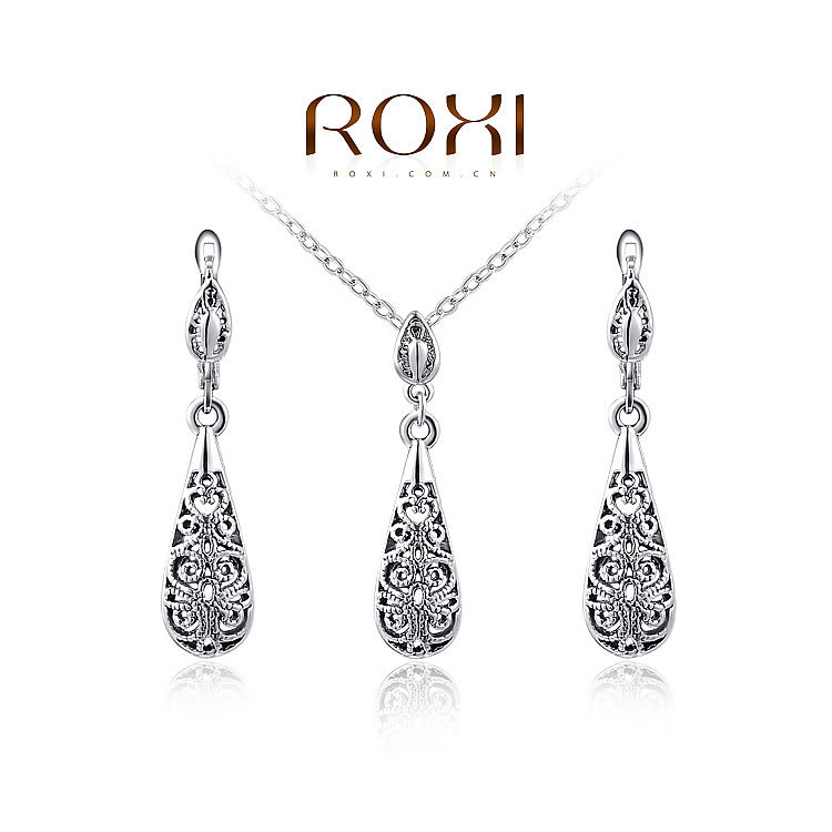 ROXI Women New 18k Yellow Gold Filled Ruby/white/Blue Sapphire Austrian Crystal Chain Jewelry Sets Necklace + Earrings(China (Mainland))