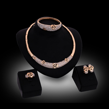 Romantic Fashion Wedding Accessories Women Rose 18K Gold Plated Rhinestone Necklace Earrings Set Dress Elegant Jewelry Sets(China (Mainland))