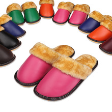 2015 Genuine Leather Slippers For Men Winter Plush Warm Soft House Shoes Genuine Cowhide Pink Bedroom Womens Slippers Indoor