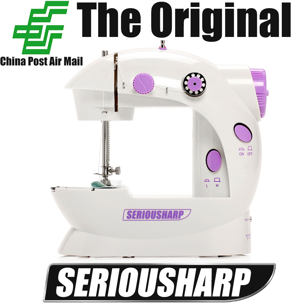 Free Shipping mini electric household sewing machine dual speed with power supply, small household sartorially belt transformer(China (Mainland))