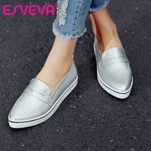 ESVEVA  All Match Size 34-40 Fashion White Women Shoes  Platform Low Heel Simple Shoes PU Leather Pointed Toe Women Casual Shoes(China (Mainland))