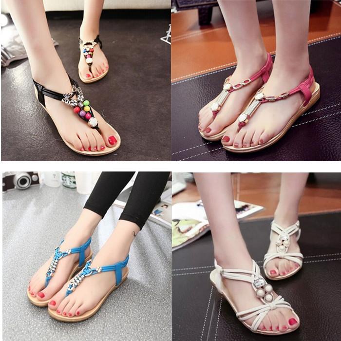 [해외]10 색 여름 평면 뒤꿈치 발 포장 바닥이 평평한 여성 모조 다..