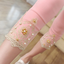 The new 2015 Summer women's lace pearl 7 minutes of pants show thin woven cloth leggings(China (Mainland))