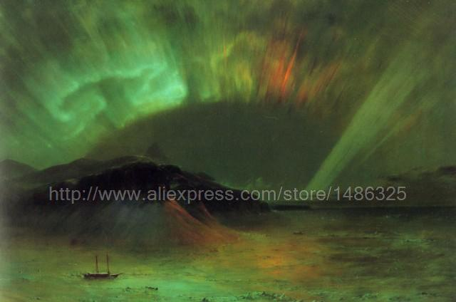 Frederic Edwin Church Oil Painting Repro Aurora Borealis Photo For Picture art Shipping Cheap Modern Decor Texture Acrylic(China (Mainland))
