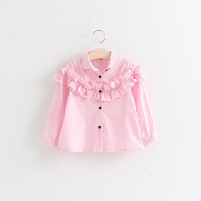 Children's White Blouse Clothings Lace Cotton Long Sleeves Pink Shirts For Girls Spring Fashion Blouses Top Clothes Shirt 2016