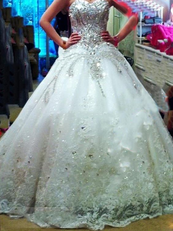 New 2016 luxury wedding dress rhinestone beading crystal for Big bling wedding dresses