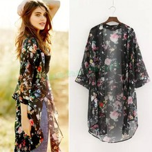 Discount 2015 Women's Floral Chiffon Kimono Cardigan Elegant Long Kimonos For Women Ladies Sexy Blusa Renda Cape 12(China (Mainland))