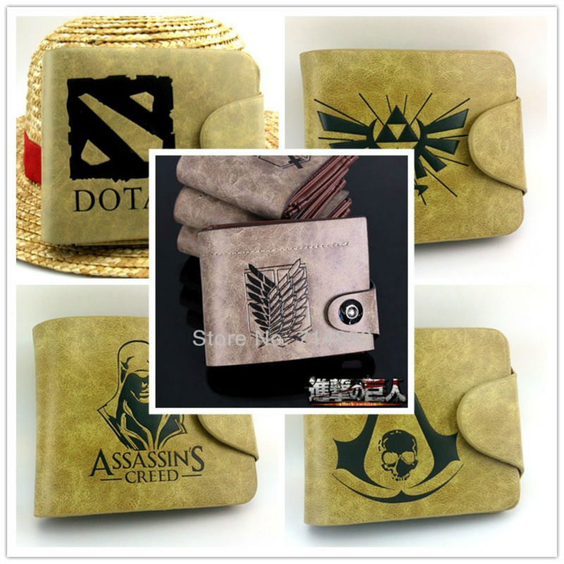 Game The Legend of Zelda Assassins Creed Attack on Titan Logo wallets Anime money bag DOTA 2 PU wallet free shipping<br><br>Aliexpress